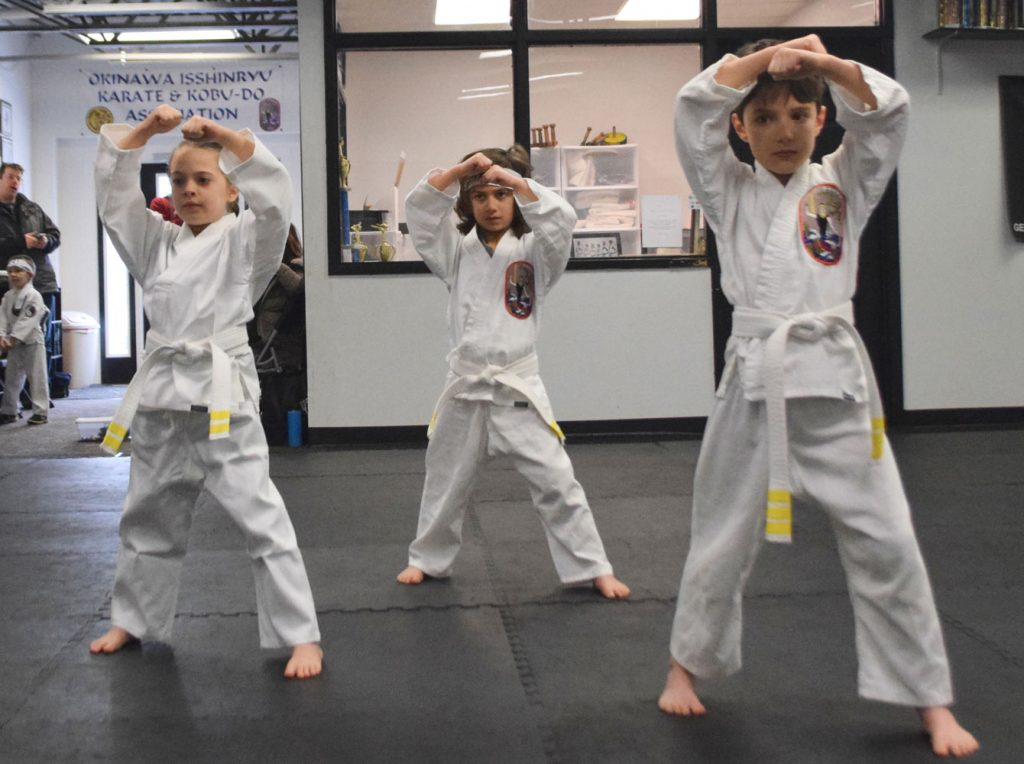 Kids in their martial arts class